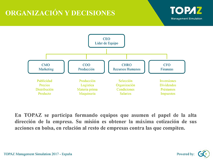TOPAZ Management Simulation - Organización y toma de decisiones